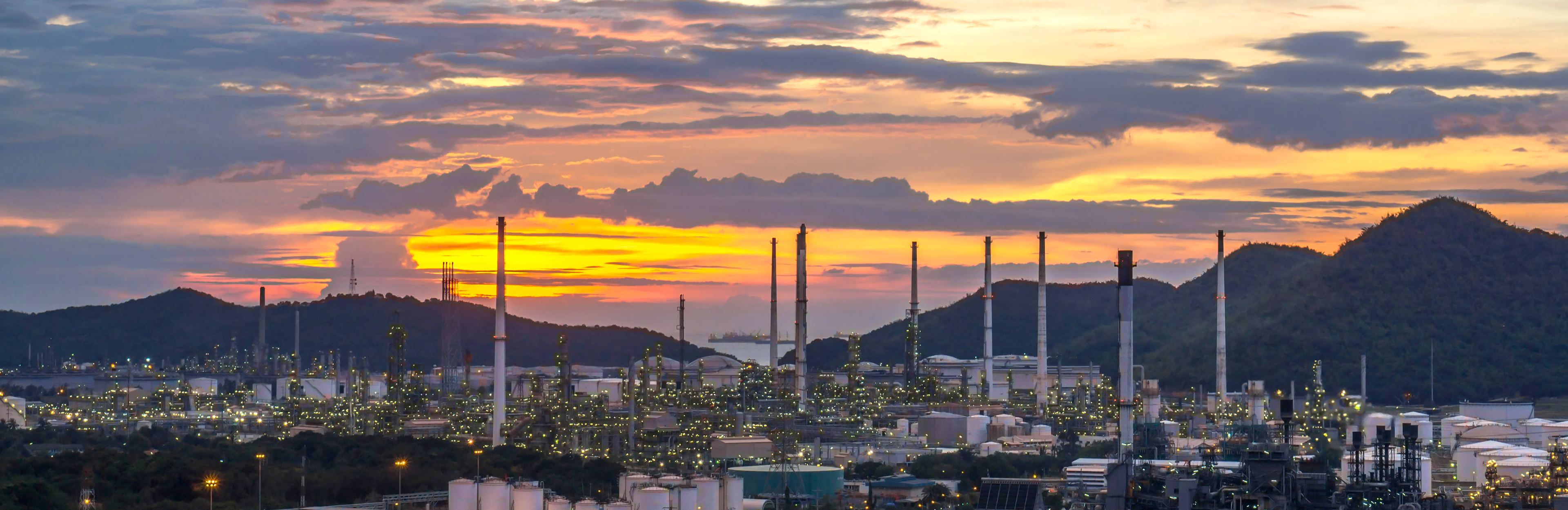 BHC3.ai for Predictive Maintenance - oil refinery sunset